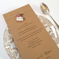 Rustic Key Wedding Menu