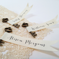 Key & Flag Wedding Place Cards
