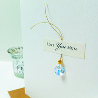 Swarovski Heart Mother's Day Card