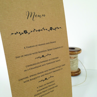 Rustic kraft Wedding Menu