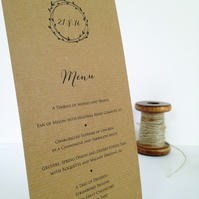 Laurel wreath rustic kraft Wedding Menu