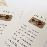 Vintage lace & key seating plan