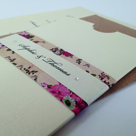 Floral Pocket Wedding Invitation