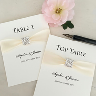 Square crystal wedding table numbers