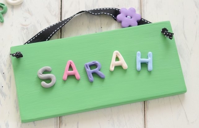 Bedroom Door Plaque - Green and Black