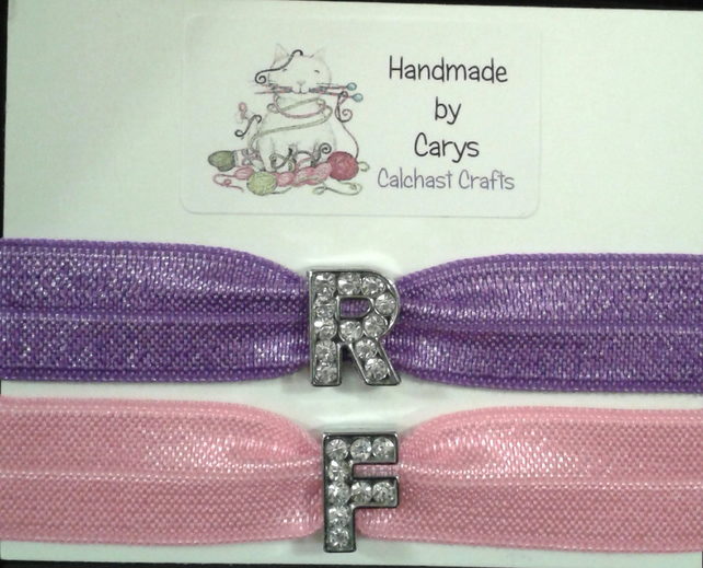 Personalised hair ties with rhinestone initials - Folksy 79c5ca5b86e