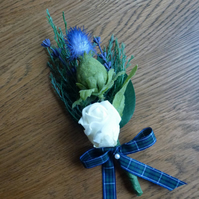 Bespoke thistle & Ivory flower corsage wedding bridal boutonniere button hole