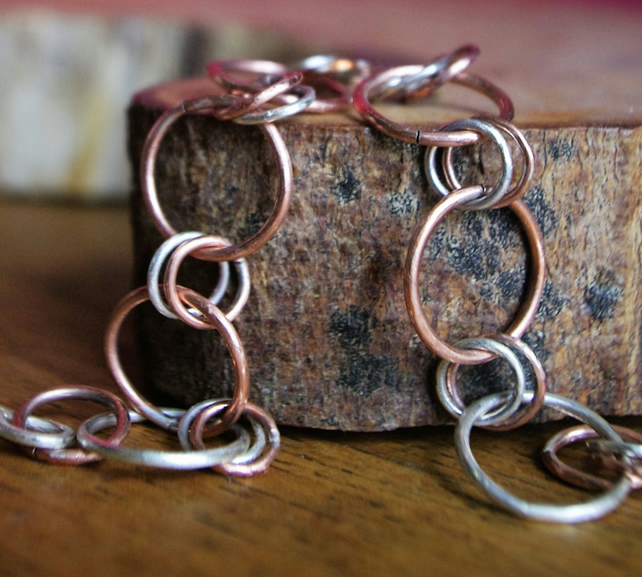 Chunky Silver and Copper Chain bracelet with double links