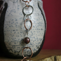 Silver and Copper  chunky link bracelet with Copper Ball