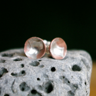 Copper Cup Studs with Silver Pattern
