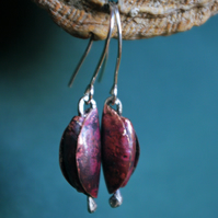 Copper and Silver Pod Dangle Earrings