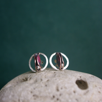 Copper Pod and Silver Seed in a Circle Stud Earring