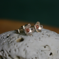Small Silver Flower Studs with Copper Middle