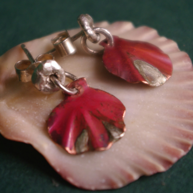 Silver and Copper Dangle Scallop Earrings