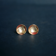 Copper Cup Studs with Silver
