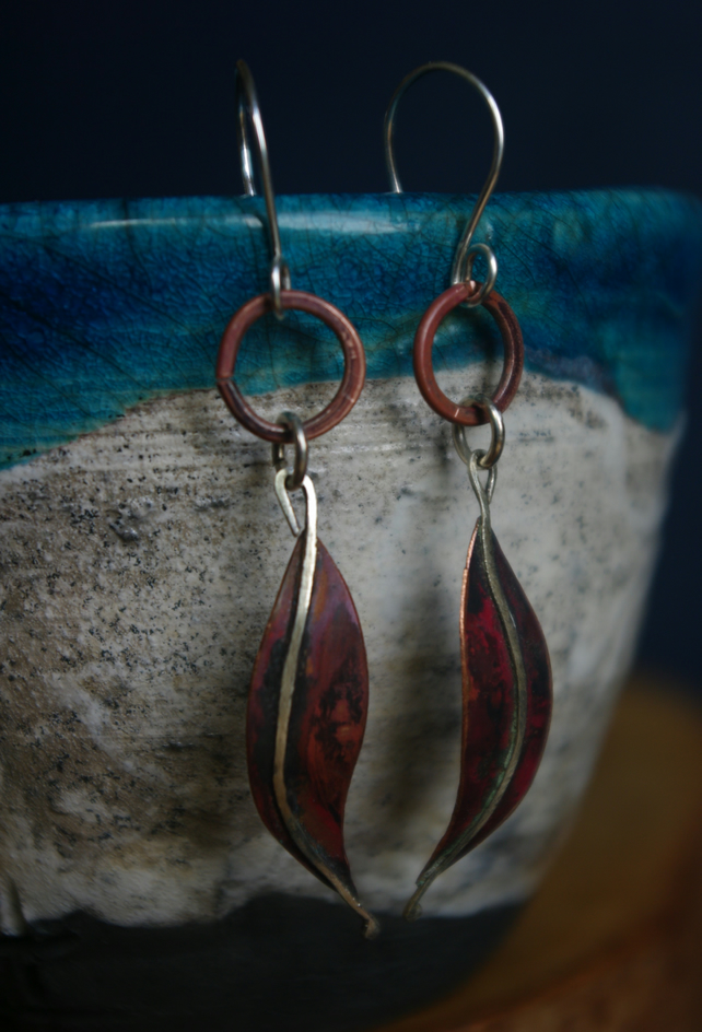 Autumn Leaf Long Dangle Earrings