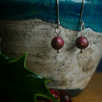 Christmas Holly Berry  Earrings