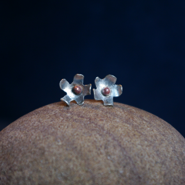 Silver and Copper Flower Stud Earrings