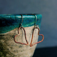 Copper Heart Dangle Earrings for Valentine's Day