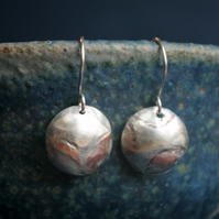 Fused Silver and Copper Dangle Earrings