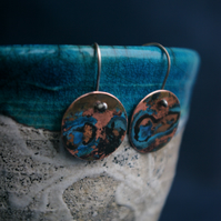 Copper with  Blue  Dangle Earrings