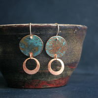 Blue-green Copper Long  Dangle Earrings