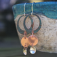 Long Dangly  Copper  and Silver  Earrings