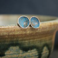 Verdigris Copper Cup Stud Earrings