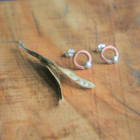Copper Circle with Silver Seed Studs