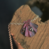 Copper Scallop Shell Pendant with Silver Chain