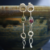Mismatched Organic Silver  Dangle Earrings with Green Peridot and Red Ruby