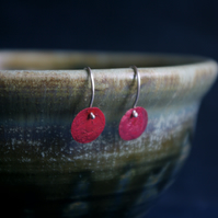 Red Copper Circle Dangle Earrings