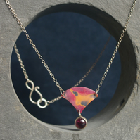 Copper and Garnet Pendant Necklace
