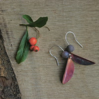Autumn Leaves and Agate Berry Earrings