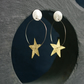 Swinging Brass Star on a Silver  Moon Stud  Earrings