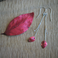 Red Autumn Leaf with  Silver Twig Dangle Earrings