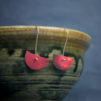 Red Copper Half Moon Earrings