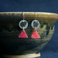 Verdigris Circle and Red Triangle Dangle Earrings