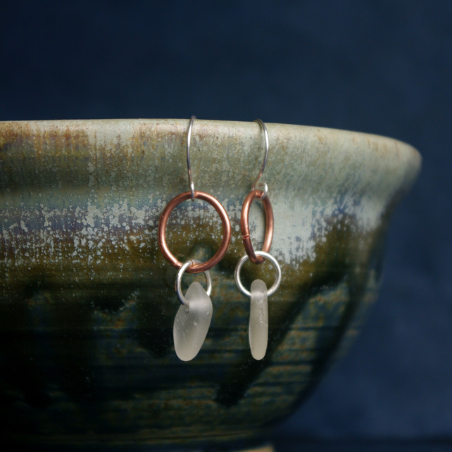 Sea Glass and Copper Earrings