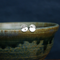 Silver Lily Pad Stud Earrings with Raindrop