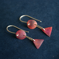 Geometric Copper Long  Dangle Earrings