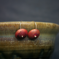 Textured Red Copper  Dangle Earrings