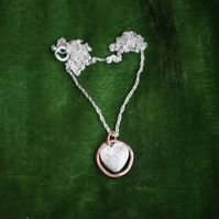 Silver and Copper Circle of Love Heart Necklace