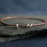 Copper Bangle with Silver Rings