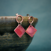 Red and Copper  Geometric Dangle Earrings