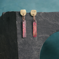 Brass and Copper Geometric Dangle Earrings