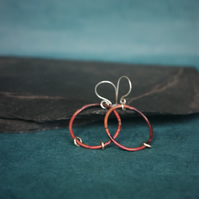Copper Dangle Hoop Earrings