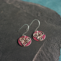 Silver and Copper Celtic  Triple Spiral Dangle Earrings