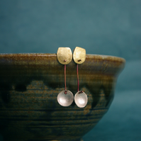 Silver Cup and  Brass  Geometric Dangle Earrings