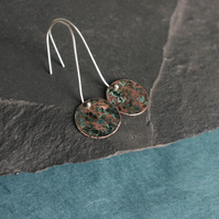 Long Dangle Blue-green and  Copper Circle Earrings